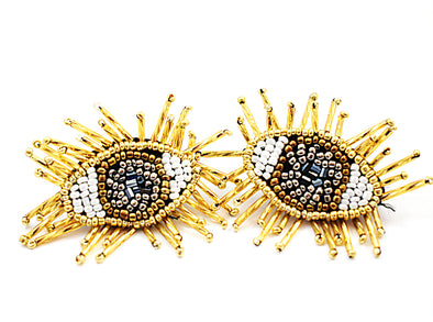 Gold Beaded Evil Eye Earrings