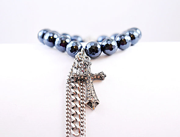 Metallic Black Cross Bracelet