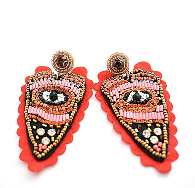 Red & Pink Evil Eye Earrings