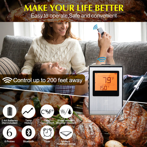 Wireless Meat Thermometer - Smart Digital Temperature Cooking Set for BBQ, Grill, Smoker and Oven - Medical-Grade Stainless Steel Probe - Long Range Bluetooth - Works with IOS and Android Phone