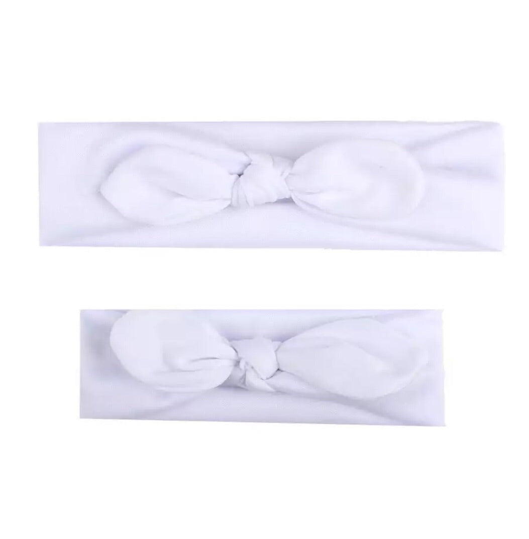 Mum/Daughter matching headband set - White