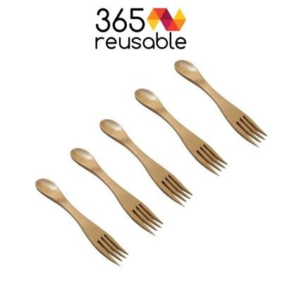 Lot de 5 sporks réutilisables en bambou - 365 reusable