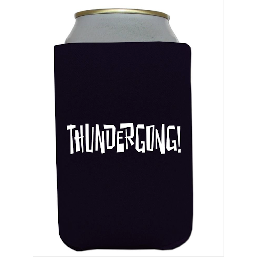 black koozie with white thundergong! logo