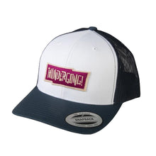 Load image into Gallery viewer, navy and white trucker cap with red thundergong! logo