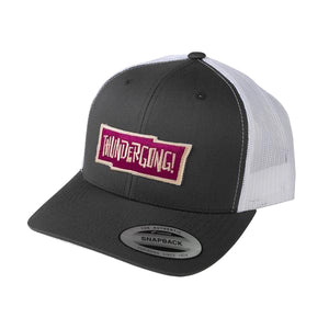 grey and white trucker cap with red thundergong! logo