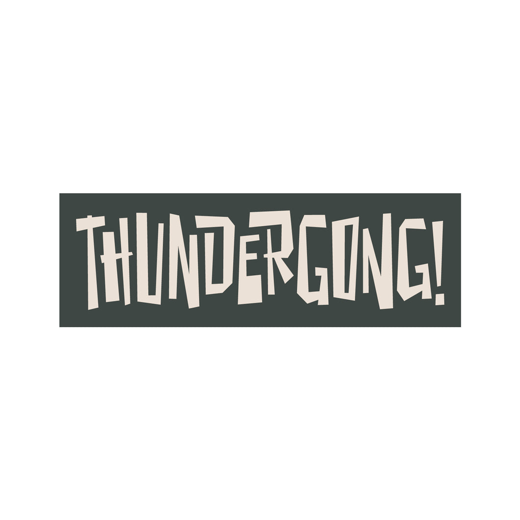 grey and white thundergong! vinyl sticker