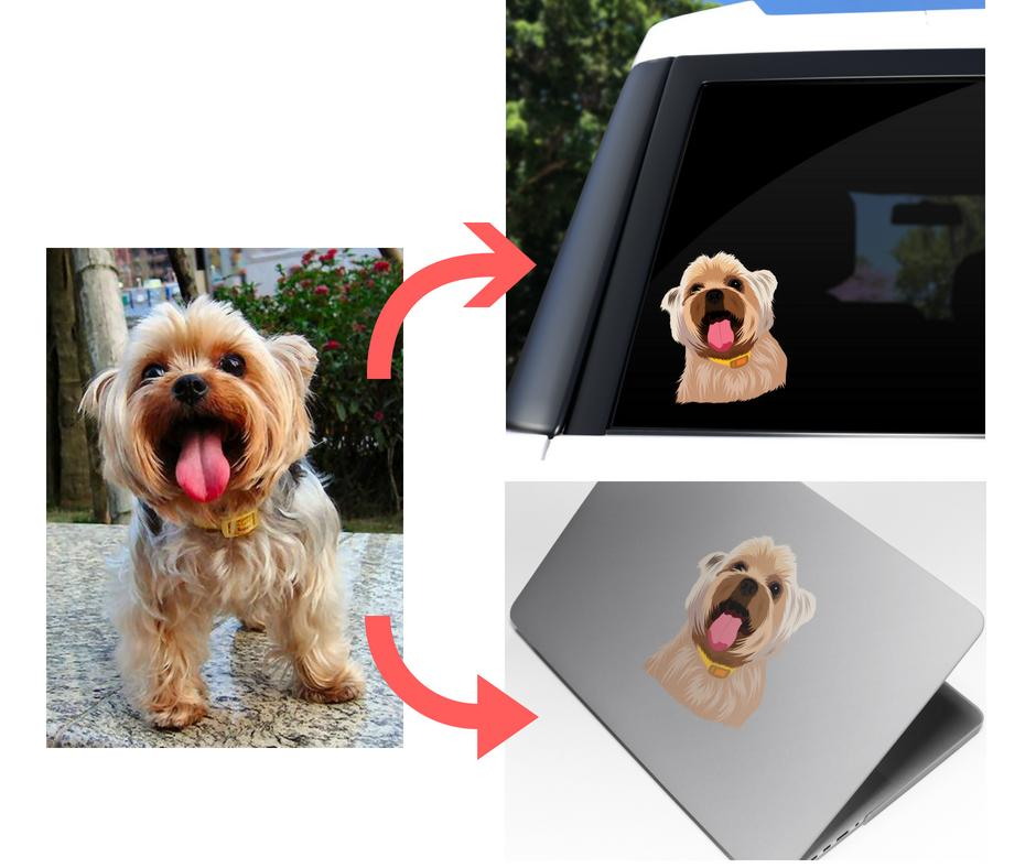 Custom Die Cut Vinyl Sticker of Your Pet -  - office-posters-and-frames