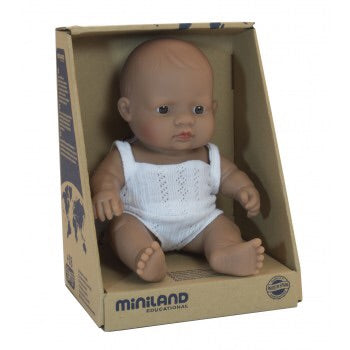 Miniland Latin American Baby Girl 21cm Doll Boxed