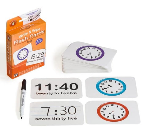 Write & Wipe Flash Cards - Time