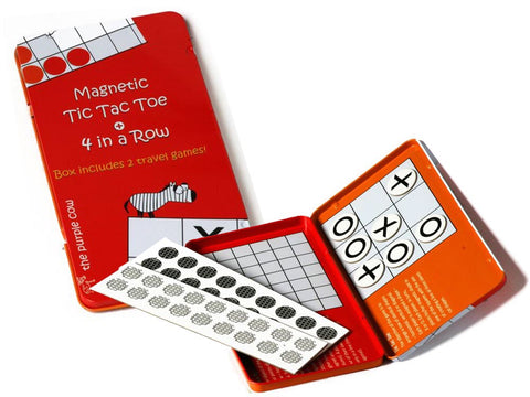 Magnetic Tic Tac Toe + 4 in a Row - Travel Tin
