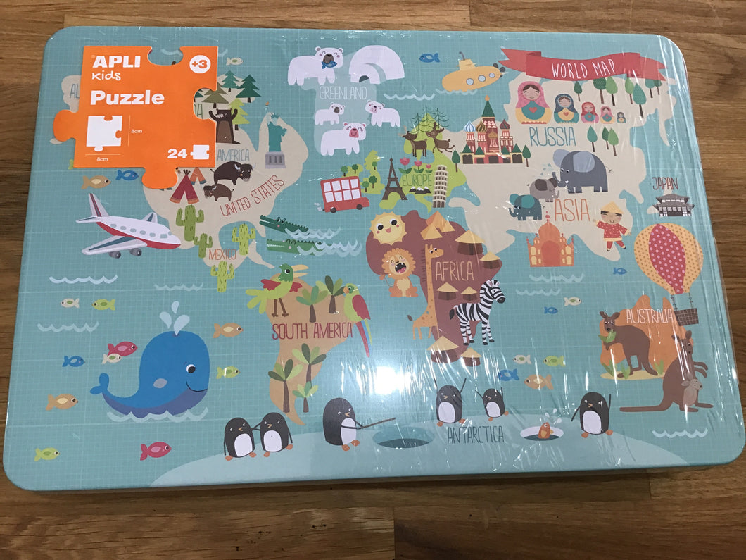 World Map Puzzle 24pc Tin