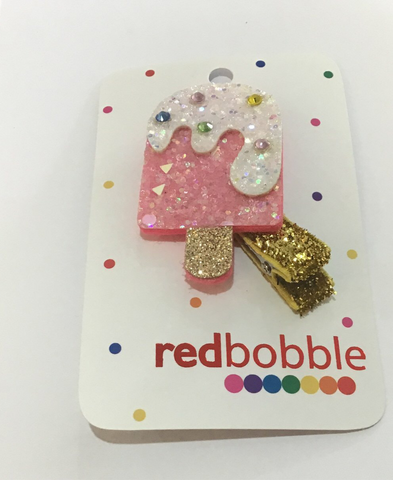 Red Bobble: Glitter Icy-Pole Hair Clip