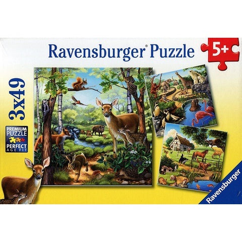 Forest Zoo & Pets Puzzle 3x49pc