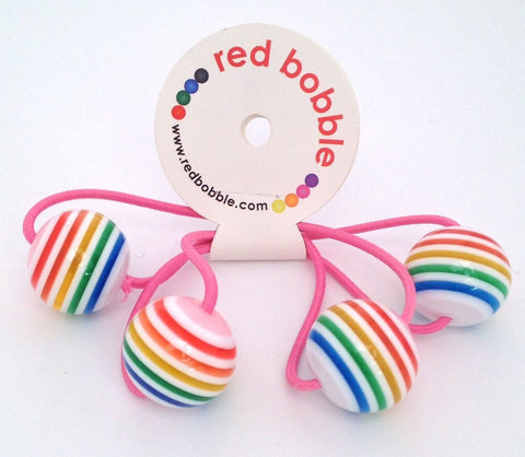 Red Bobble: Rainbow Ball Hair Ties