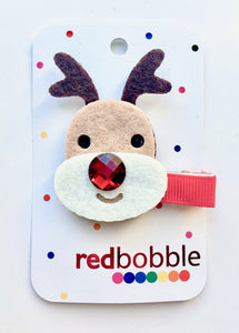 Red Bobble: Rudolf Reindeer Hair Clip