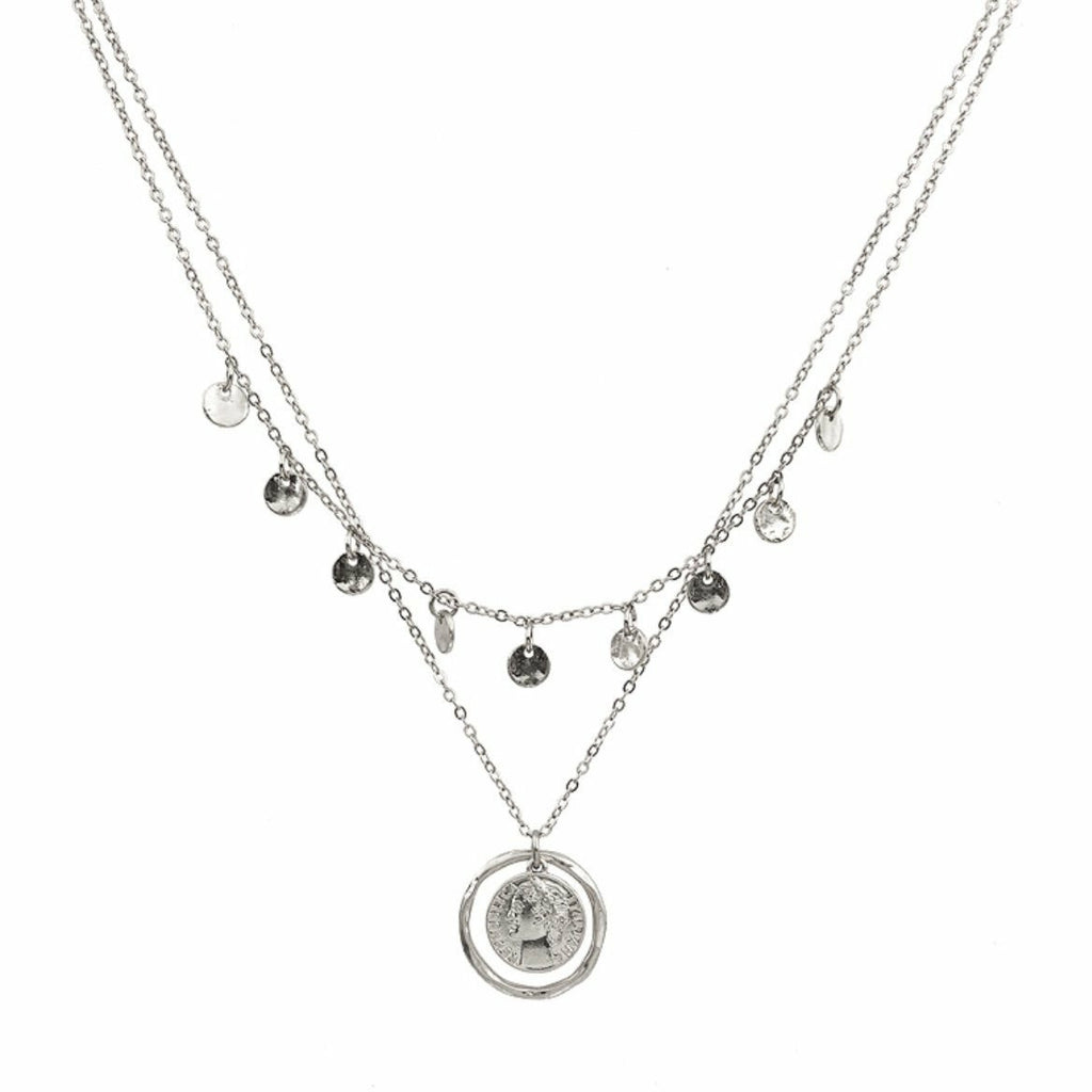 Layered Silver Circle and Coin Charm Necklace - Rockin' Sass Boutique