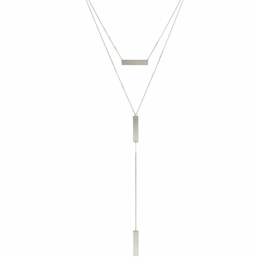 Matte Silver Bar Layered Y Drop Necklace - Rockin' Sass Boutique