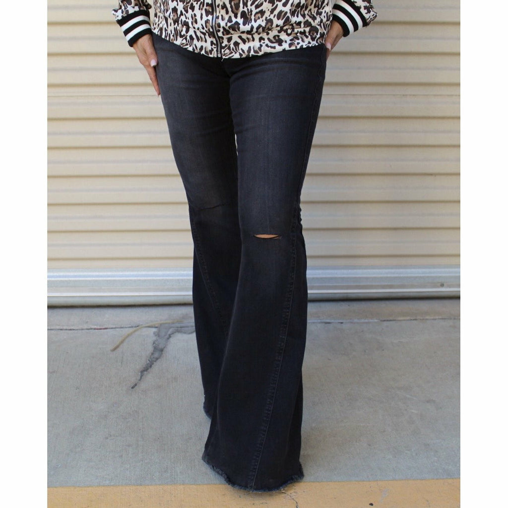 Multi-Faded Bell Jeans - Rockin' Sass Boutique