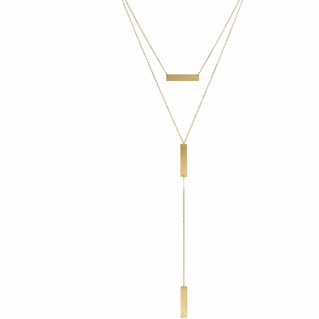 Matte Gold Bar Layered Y Drop Necklace - Rockin' Sass Boutique