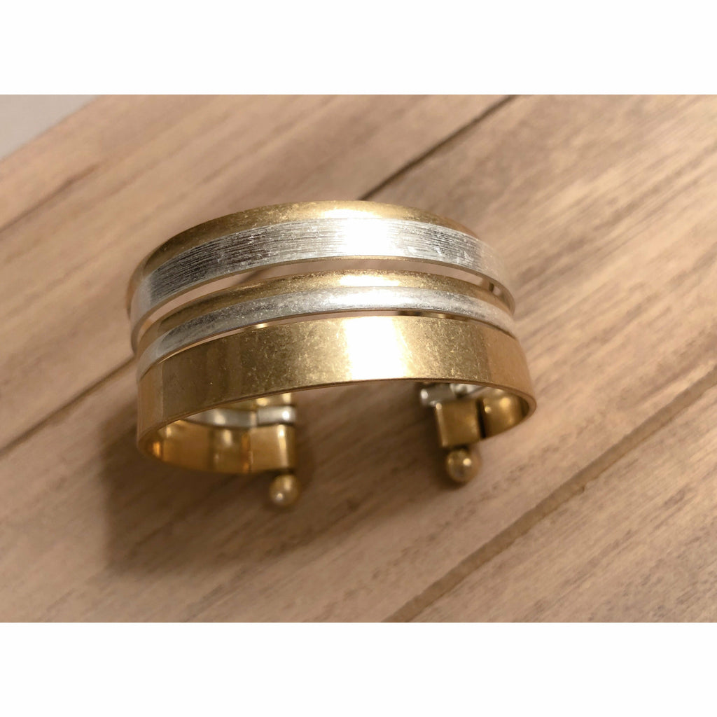 Gold and Silver Multi Layered Cuff Bracelet - Rockin' Sass Boutique