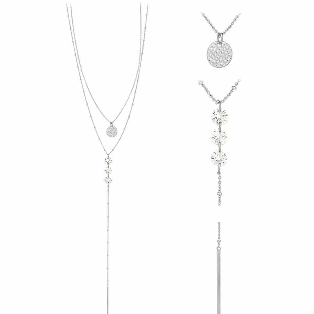 Silver Two Layer Silver Coin and Three Crystal Drop Necklace - Rockin' Sass Boutique