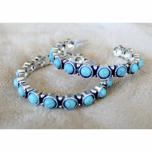 Turquoise Scallop Hoop Earrings - Rockin' Sass Boutique