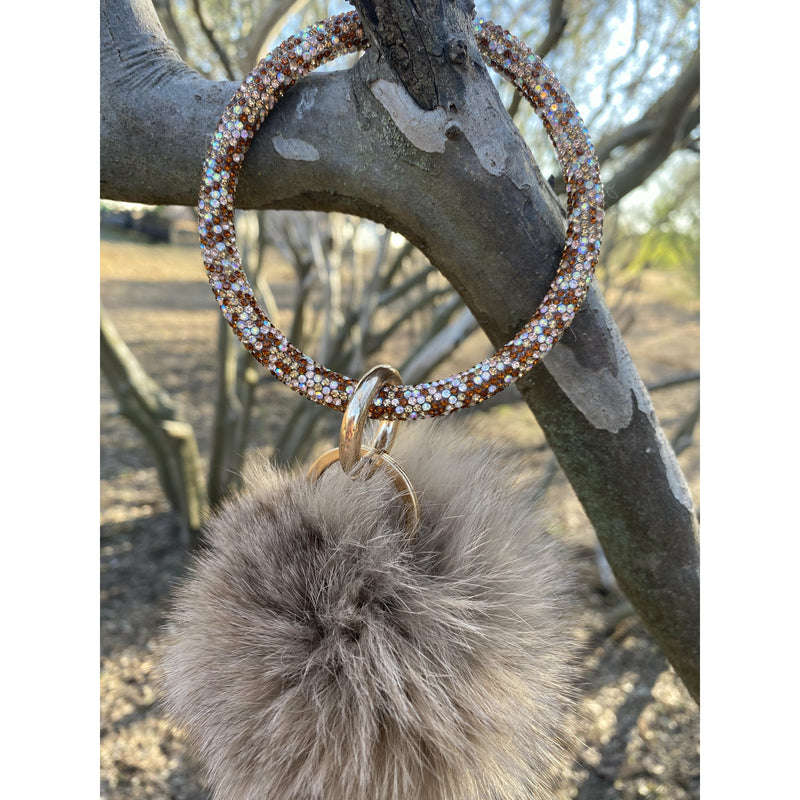 Brown Bling Pom Keyring