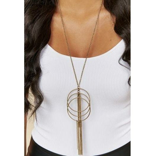Antique Gold Hoop Tassel Necklace - Rockin' Sass Boutique