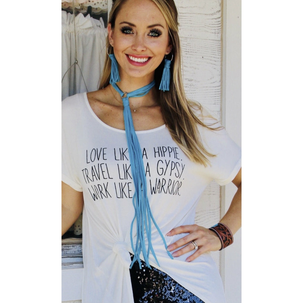 The Toler Leather Fringe Necklace-Turquoise