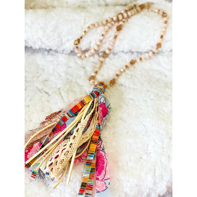 Multi Color Tassel Beaded Necklace