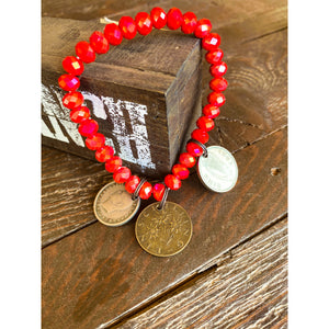 Red Beaded Coin Bracelet