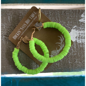 Neon Green Hoop Earrings