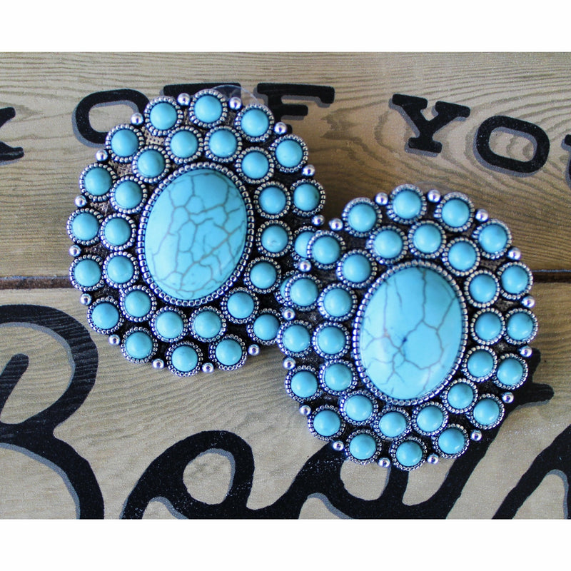 Turquoise Concho Earrings - Rockin' Sass Boutique
