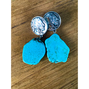 Turquoise Stone Coin Earrings