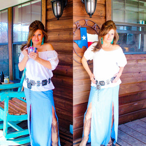 Chambray Double Slit Skirt - Rockin' Sass Boutique
