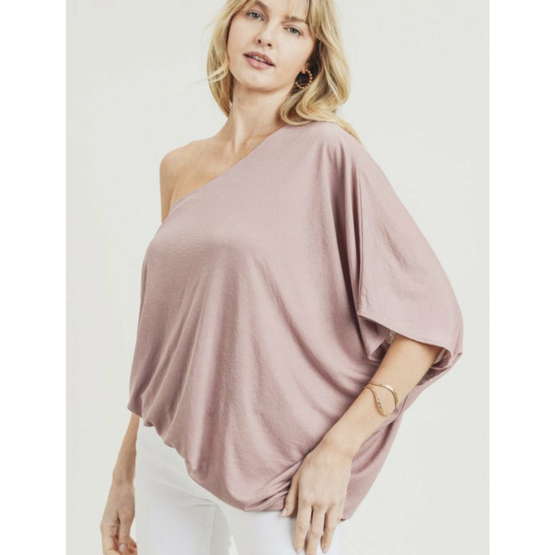 One Shoulder Mauve Top