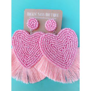 Pink Heart Bead Tassel Drop Earrings
