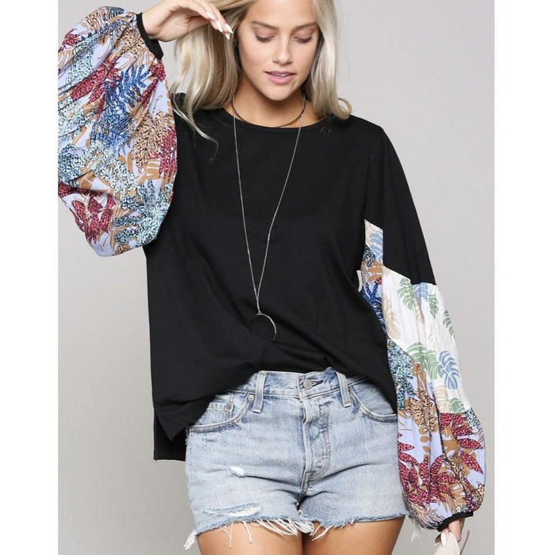 Printed Bishop Top - Rockin' Sass Boutique
