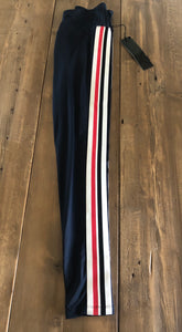 Navy workout pant with Red and white stripe
