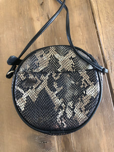 Snake print with bee evening bag