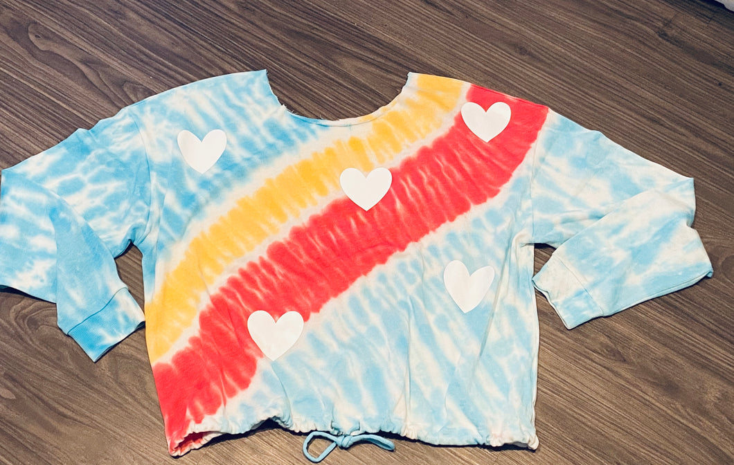 Off the shoulder Tie Dye Hearts sweatshirt