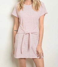 Stripe tie waist dress
