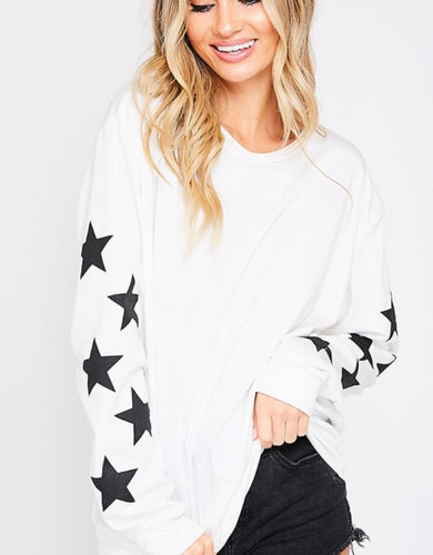 Star sleeve sweatshirt