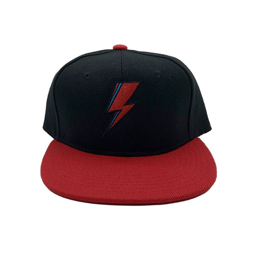 SVOLTA Black & Red Lightning Bolt Kids Snapback Hat