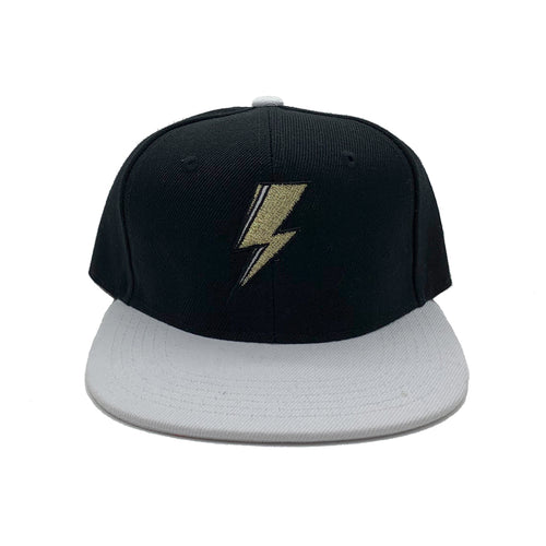 SVOLTA Black & White Lightning Bolt Kids Snapback Hat