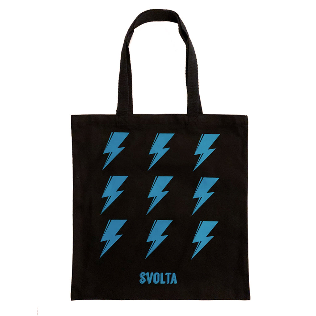 SVOLTA Teal & Black Lightning Bolt Canvas Tote Bag