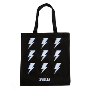SVOLTA White & Black Lightning Bolt Canvas Tote Bag