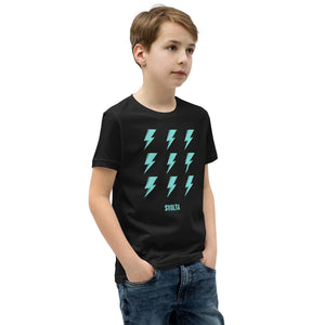 SVOLTA Kids / Youth Black & Aqua Short Sleeve T-Shirt - 9 Bolts, S-XL