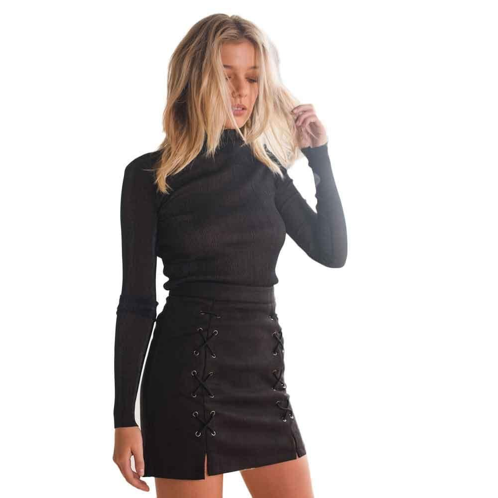 Suede Stretch Full Sleeves Dress