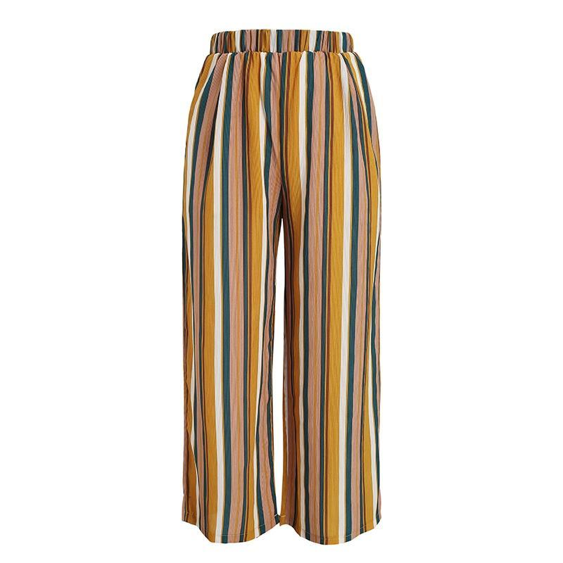 Retro Stripes Casual Capri Pants